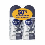 Kit Desodorante Nivea Roll Black & White Masculino - 50% Na Segunda Unidade
