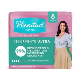 Absorvente Para Incontinência Plenitud Femme Ultra Com 8 Unidades