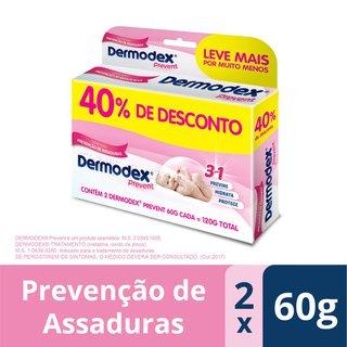 Kit Pomada Para Prevenção De Assaduras Dermodex Prevent 60g Com 2 Unidades 40% Off
